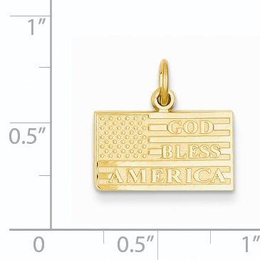 (14k Yellow Gold God Bless America Flag Charm Pendant )