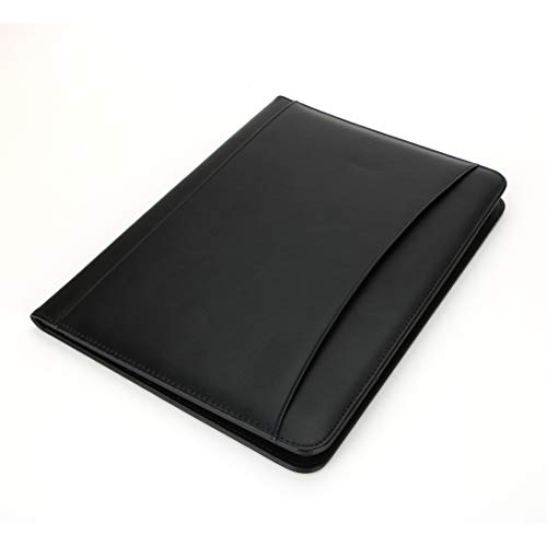 Padfolio/Resume Portfolio Folder - Interview/Legal Document Organizer & iPad Holder,Pen Holder,Business Card Holder - with Letter-Sized Writing Pad - with Writing Paper(Black)