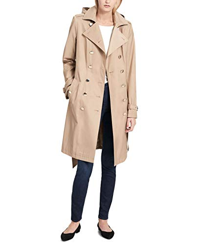 Calvin Klein Womens Petite Double-Breasted Trench Coat Khaki PL ()