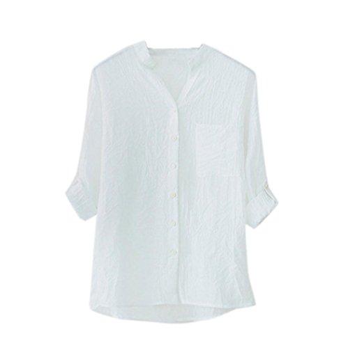 Tops Femmes, Yanhoo Femmes Coton Manches Longues Chemisier Filles Casual Chemisier En Vrac T-shirt D't Vtements Dames Bouton Bas Chemises (S, Kaki) Blanc