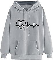 Pandaie Women's Heartbeat Print Hoodie Pullover Casual ECG Light Graphic Sweatshirt Dressy Streetwear Fash