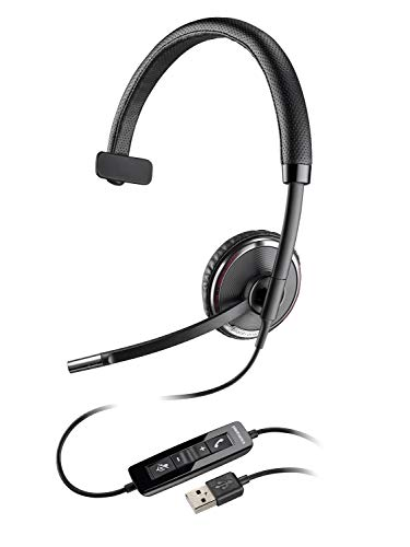 Plantronics Blackwire C510-M Monaural Over-the-Head Corded Headset, Microsoft Optimized by Plantronics