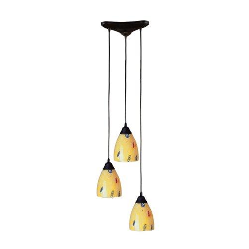 3 Light Pendant In Dark Rust And Yellow Blaze -