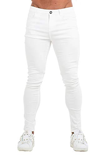GINGTTO Mens Skinny Stretch Jeans White Casual Basic Jeans for Men Slim Fit 28