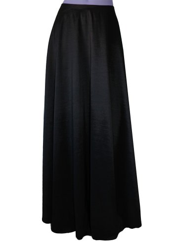 E K Women's plus size long taffeta skirt Maxi evening formal cocktail party-0X- Black Und by E K