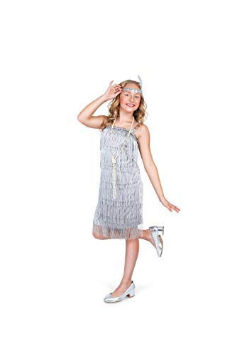 Flapper Costume For Tweens (Karnival Costumes Flapper Costume Girls, 20s Dress with Headband, Kids 9-10 Years, Silver, X)