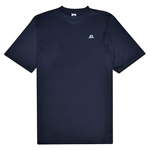 Russell Athletic Men's Short Sleeve Exercise Workout T Shirt Polyester Crew with Left Chest Navy 3X Tall