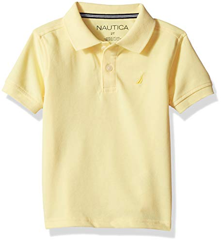 (Nautica Little Boys' Short Sleeve Solid Deck Stretch Polo, Anchor Light Yellow Large (6))