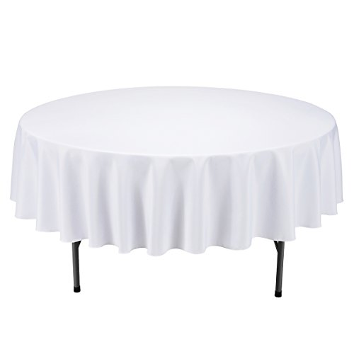 Remedios 90-inch Round Polyester Tablecloth - for Wedding, Restaurant, or Banquet use, White