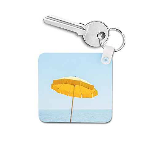 Yellow Summer Umbrella Under Blue Sky Double-sided Square Metal Key Chain from Style in Print
