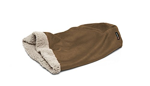 Big Shrimpy Den Pocket Bed for Dogs, Faux Suede and Fleece, Medium, Walnut - Machine Washable Sleeping Bag Style Dog Bed with a Super Plush Berber Fleece Lining, for Small Dogs or Cats