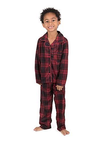 Leveret Kids Pajamas Flannel Pajamas Boys & Girls 2 Piece Christmas Pajama Set Black/Red Plaid 6 Years