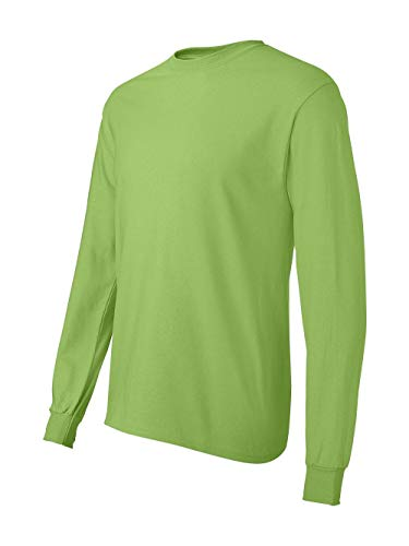 Hanes TAGLESS 6.1 Long Sleeve T-Shirt (Lime, Large)