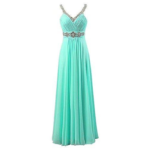 Vantexi Womens Beaded Straps Chiffon Long Bridesmaid Prom Dress Aqua 10