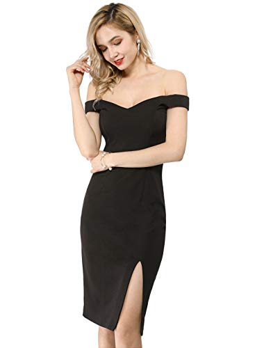 Allegra K Women's Off Shoulder Sweetheart Neck Slit Bodycon Party Midi Dress Black M (US 10) Black Sweetheart Neckline Dress