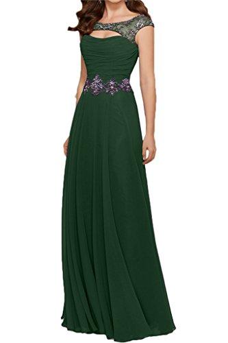 Gorgeous Bride Modisch Rundkragen A-Linie Chiffon Tuell Abendkleider Festkleider Ballkleider Lang Dunkelgrün