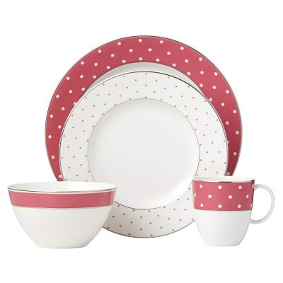 New 4 Piece Setting - Lenox Kate Spade New York Pink & Platinum Polka Dots 4-Piece Place Setting New in box