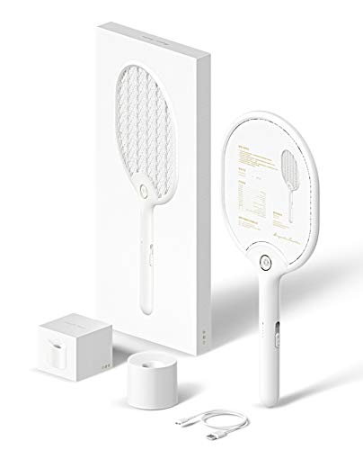Electric Bug Zapper Fly Swatter Zap Mosquito Best for Indoor and Outdoor Fly Killer - Rechargeable (White Zapper) Fly Catcher ()