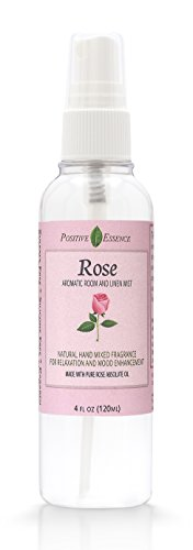 Positive Essence Rose Linen & Room Spray, Natural Aromatic Mist Made with Pure Rosa Multiflora Essential Oil, Relax Your Body & Mind, Perfect as a Bathroom Air Freshener Odor ()