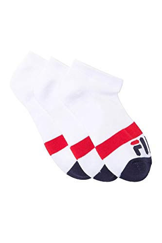 Fila Women's 3-Pack Heritage Blocked Toe Low Cut Socks (White)