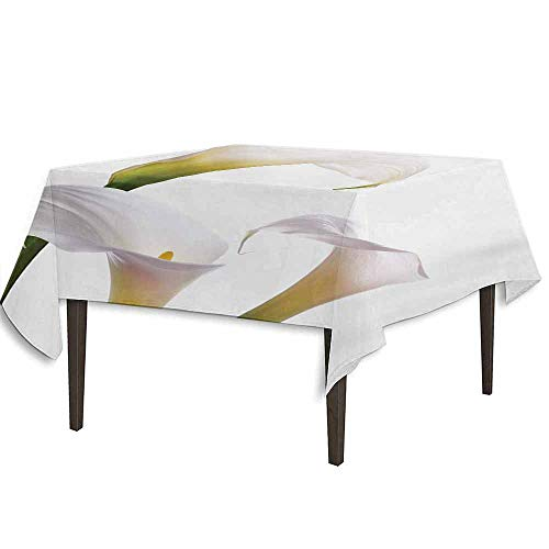 kangkaishi Flower Detachable Washable Tablecloth Flourishing Calla Lilies on White Fresh Spring Bouquet Gentle Nature Theme Great for Parties Festivals etc. W36.2 x L36.4 Inch Green White Yellow