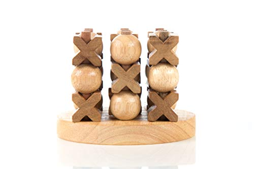 3D OX 3x3 (Tic-Tac-Toe) Handcraft 3D Brain Teaser Wooden Games and Puzzles with Gift Box