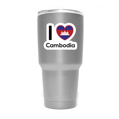 (Love Cambodia Flag Decal Sticker Home Pride Travel Car Truck Van Bumper Window Laptop Cup Wall - Two 3 Inch Decals - MKS0184)