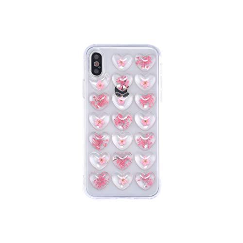 for iPhone Xs Max Case,iFunny Vintage 3D Heart Real Dried Flowers Women Girls Stylish Soft Silicone Case for iPhone Xs Max (Pink)