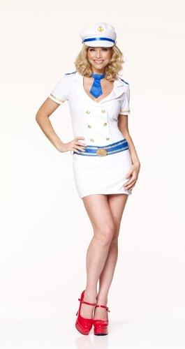 Naval Captain Uniform Costume (Sailor Captain Naval Uniform Female Fancy Dress Costume & Hat - XL (US 16-18))