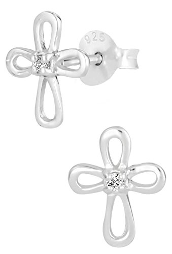 Hypoallergenic Sterling Silver Cross with CZ Crystal Stud Earrings for Kids (Nickel Free)