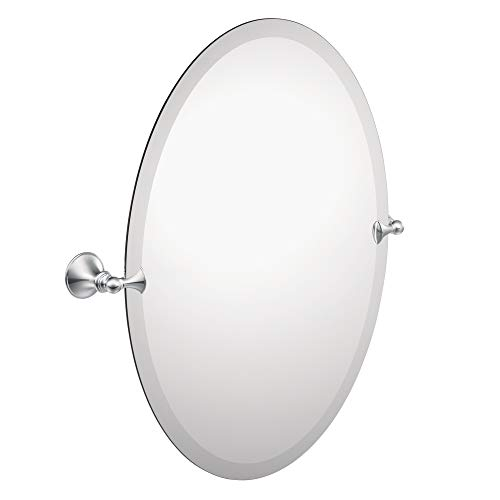 Moen DN2692CH Glenshire 26 x 22-Inch Frameless Pivoting Bathroom Tilting Mirror, Chrome (Chrome Swivel Mirror)