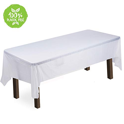 (Green Elephant ComposTablecloth 100% Biodegradable Rectangular Tablecloth 10 Pack, - 54 x 108 in. - Transparent White Disposable Table Cover - ASTM D6400 and VINCOTTE OK Compost Home Certified )