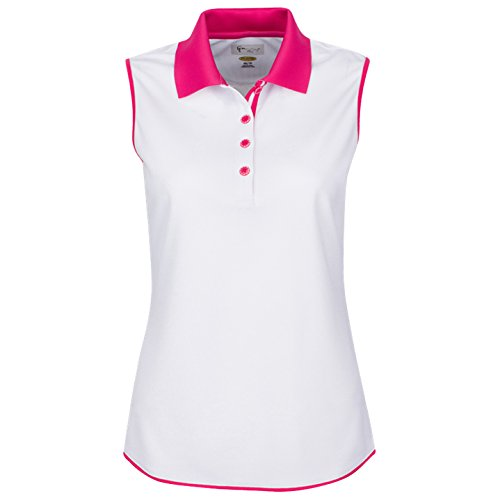 (Greg Norman Sleeveless Contrast Trim Golf Polo 2017 Womens White Small)
