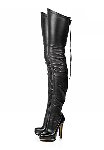 Sexy High Heeled - Stupmary Women High Boots Rear Zip Platform Round Toe Over The Knee Boots Woman Shoes High Heeled Party Bootie Lace Up Botas