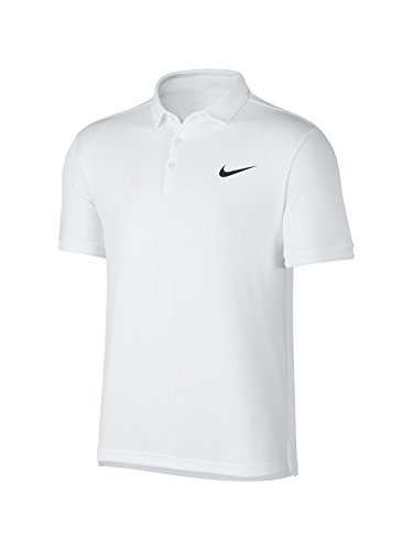 - Nike Men's Court Dry Polo Team Tennis Shirt (Large, White/White/Black)