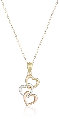 10k Gold Tri-Color Three Heart Drop Necklace, (Heart Tri Color Necklace)