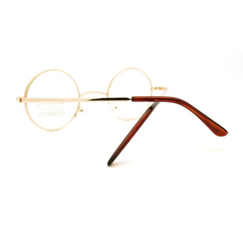 c1607572e88 Gold Round Circle Clear Lens Eyeglasses Small Size Thin Frame Unisex Glasses
