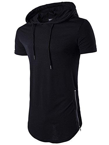 Mens Hipster Hip Hop Short Sleeve Side Zipper Longline Pullover Hoodies Shirts (Black, Large)