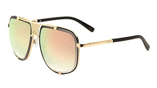 Milano Oversized Square Flat Top Aviator Sunglasses w/ Metal Bar (Black & Gold Frame, Pink Green Flash - Milano Sunglasses
