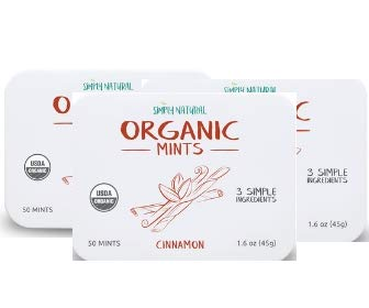 Simply Natural Organic Breath Mints, Cinnamon, 3 SIMPLE INGREDIENTS, Certified Organic, Vegan, 50-Piece Tins, (Pack of 3) 150 Pieces
