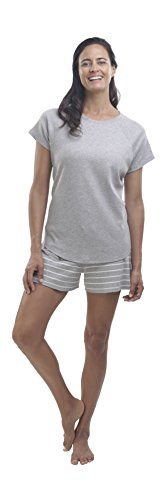 oft Pima Cotton Women's Pajamas Set, Shorts - 'The Lighthearted' ,Cream/Heather Grey,Small/Reg (5'5 or shorter) (Cream Heather)