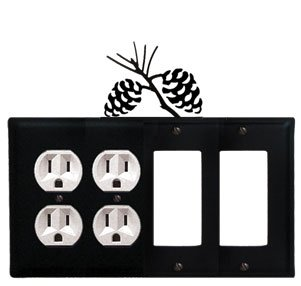 (EOOGG-89 Pinecone Double Outlet Double GFI Electric Cover)