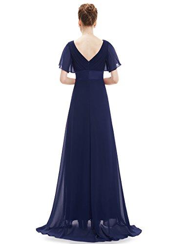 V Lange Pretty Schleppe Marineblau 09890 Festkleider mit Ever Ausschnitt Abendkleider Damen B MDL qEHnF