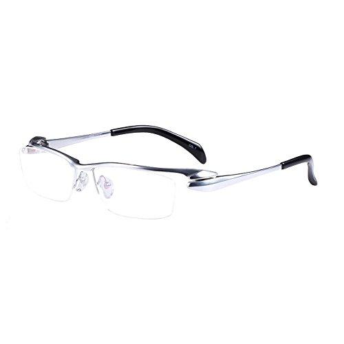 MINCL/Pure Titanium Half Rimless Business Glasses Frame Eyeglasses Clear Lens (silver, plain)