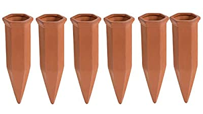 Juvale Self Watering Spikes - 6-Pack Terracotta Plant Watering Stakes, Automatic Slow Release Water Drippers for Indoor Outdoor Garden, Vacation Irrigation Device, Brown, 6.9 Inches Tall