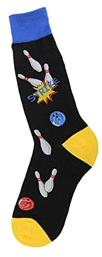 - Foot Traffic - Men's Sports-Themed Socks, Strike Bowling (Men's Shoe Sizes 7-12)