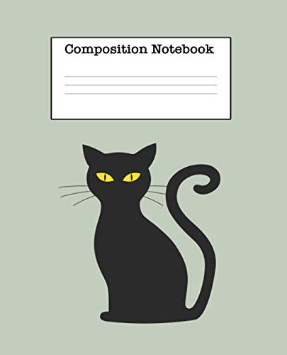 Composition Notebook: Cat Half Blank Half Wide Ruled