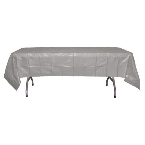 12-Pack Premium Plastic Tablecloth 54in. x 108in. Rectangle Table Cover - Silver