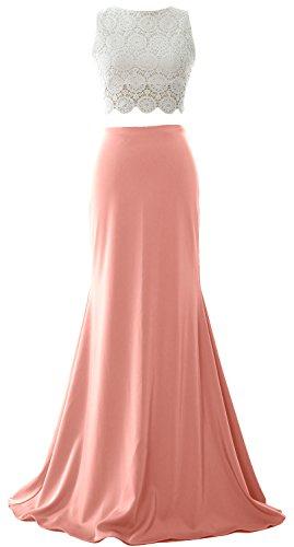 MACloth Women Mermaid 2 Piece Long Prom Dress 2017 Jersey Formal Evening Gown Blush Pink
