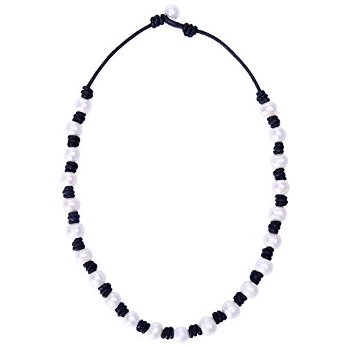 Knotted Leather Pearl Choker Necklace Cultured Pearl Bead Jewelry on Genuine Leather Cord for Women 18'' Black
